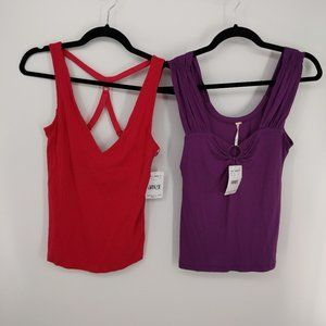 Free People 2 Tank Tops Red and Purple New Sz Sm
